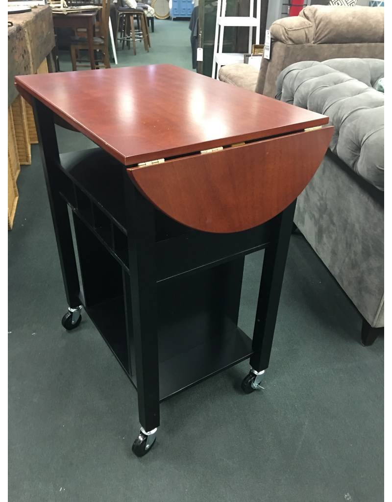 Two Toned Black and Cherry Wood Kitchen Cart