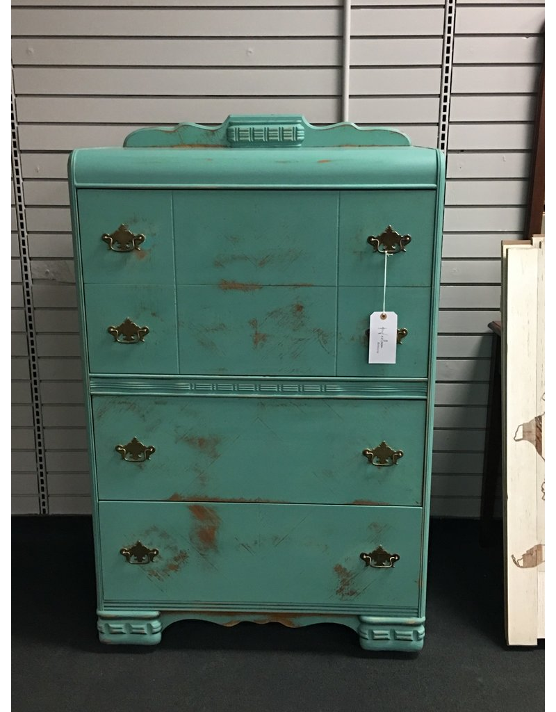 Teal Painted Waterfall Style Chest of Drawers