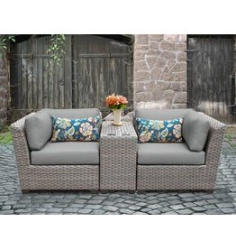 TK Classics Florence 3 Piece Rattan Conversation Set with Cushions