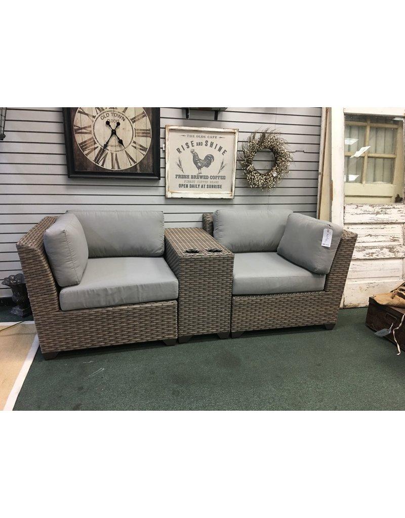 TK Classics Florence 3 Piece Rattan Conversation Set with Cushions