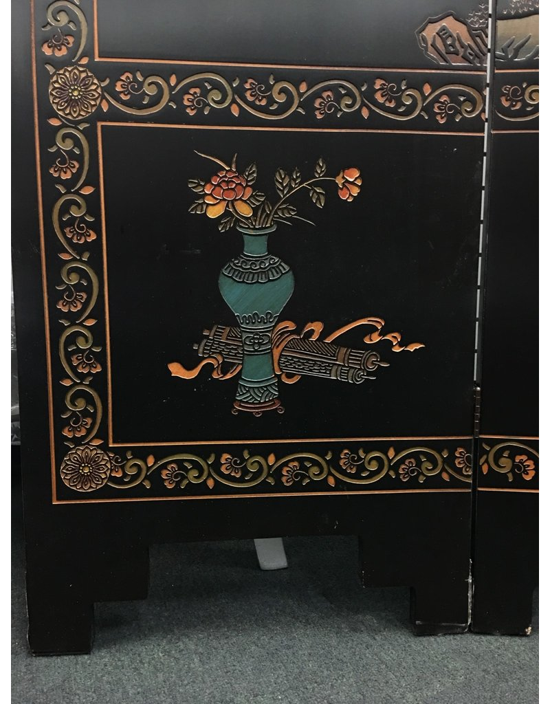 Contemporary Hand Painted Chinese Black Coromandel Style Screen