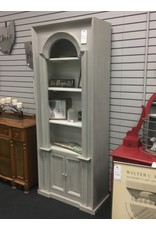 Gray Painted Arch Top Bookcase