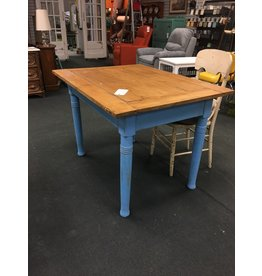 Rustic European Kitchen Table w Blue Base