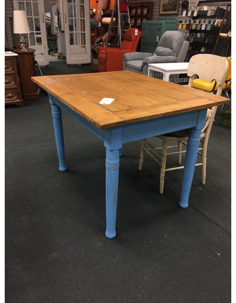 Rustic European Kitchen Table w Blue Base