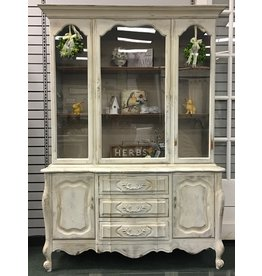 French Provincial Textured Painted China Cabinet