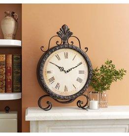 Fleur De Lis Living Metal Table Clock
