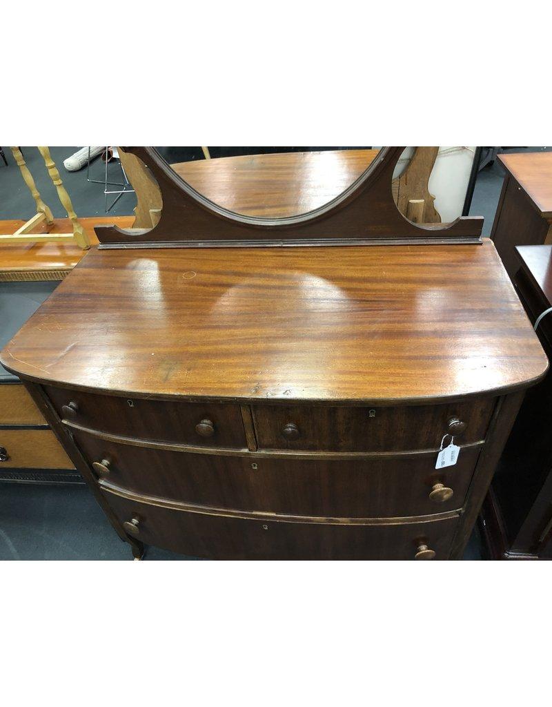 Antique Bow Front Dresser w Shield Mirror