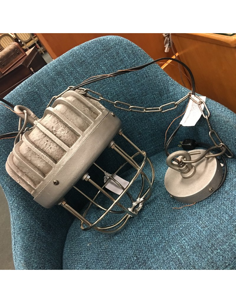 Large Industrial Pendant w Metal Cage