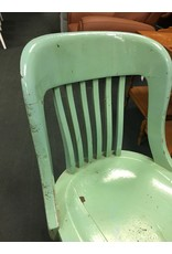 Mid Century Teal Painted Bankers Chair on Aluminum Base
