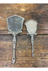 Vintage Hand Mirror and Brush 2pc Set