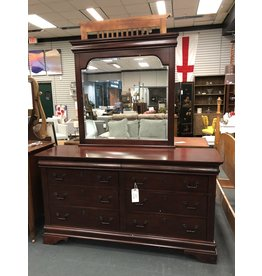 Dark Finished 8 Drawer Double Dresser w Mirror