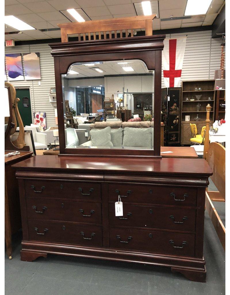 Dark Finished 8 Drawer Double Dresser w Mirror