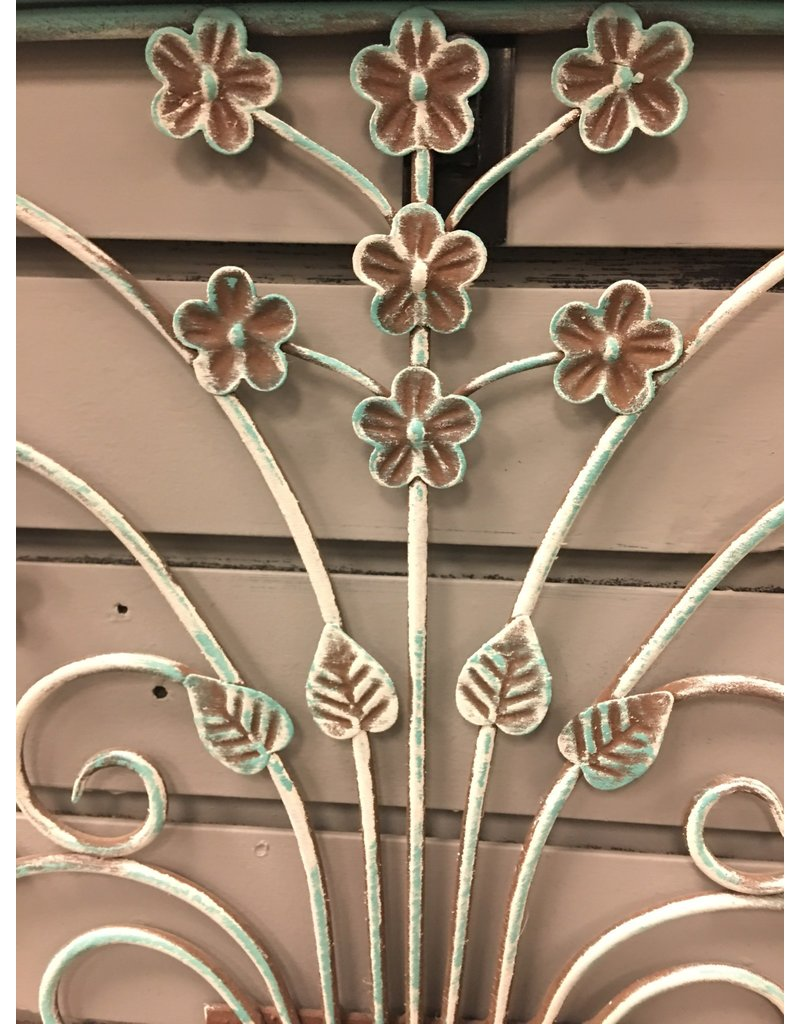 Teal Painted Framed Metal Wall Decor
