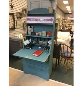 Gulf Stream Blue Painted Colonial Style Secretary w Hutch Top