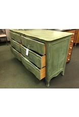 Teal Painted Dark Waxed 6 Drawer French Provincial Dresser