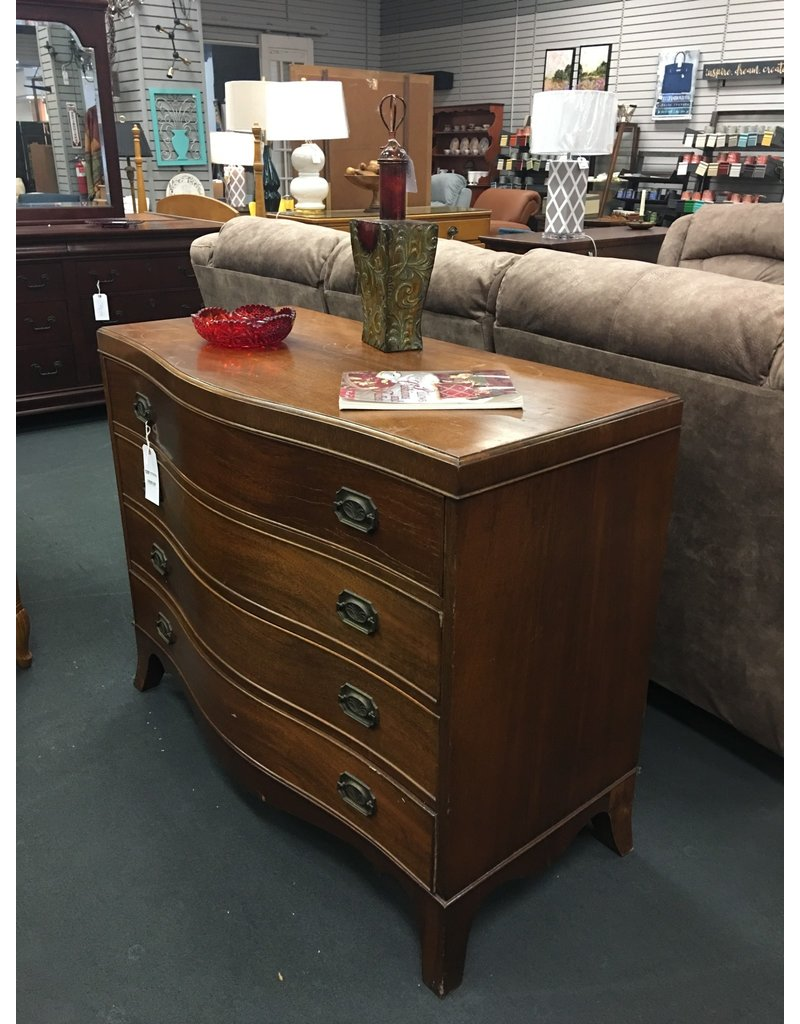 1920s Mahogany Bow Front 4 Drawer Dresser