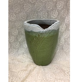 Small Green Ceramic Planter w Leaf