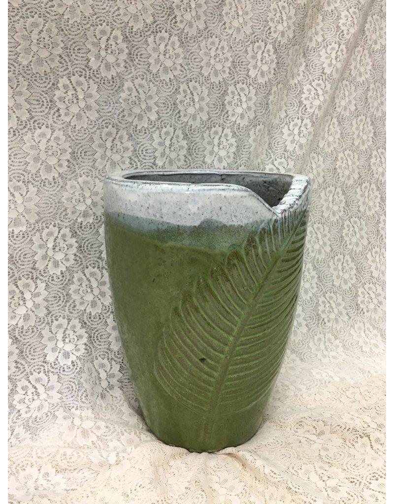 Small Green Ceramic Planter w Leaf