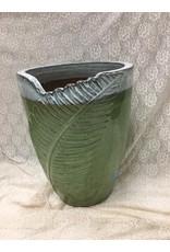 Large Green Ceramic Planter w Leaf