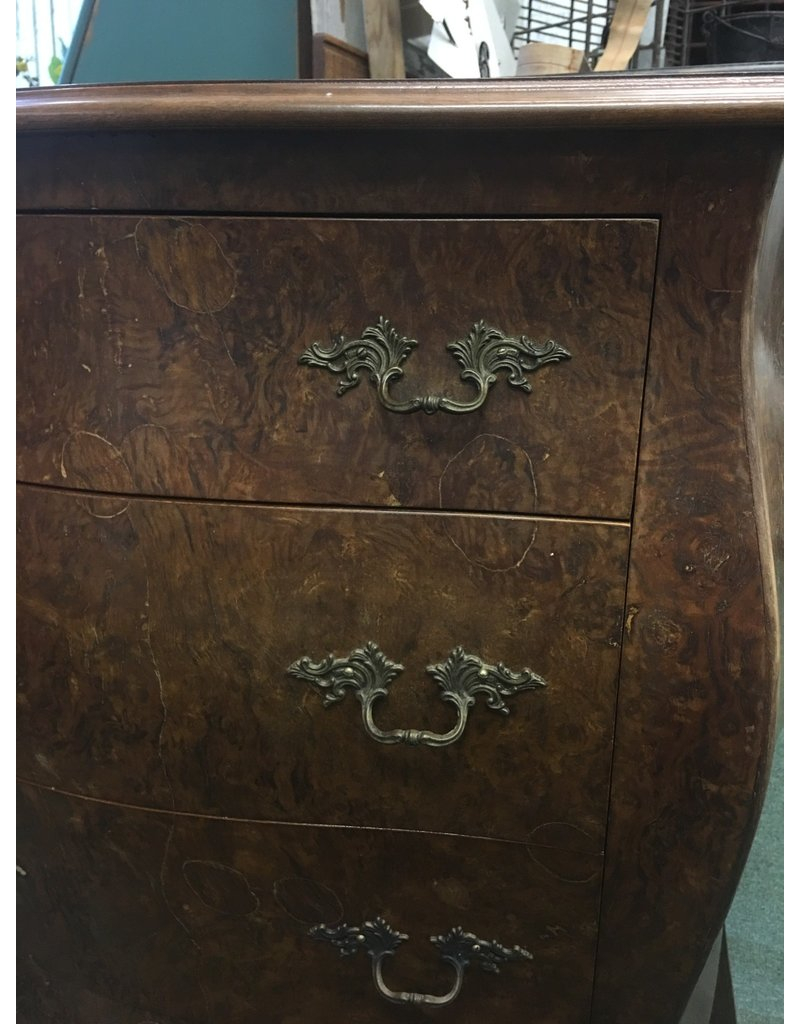 Burled Veneer Bombay Style 3 Drawer Chest