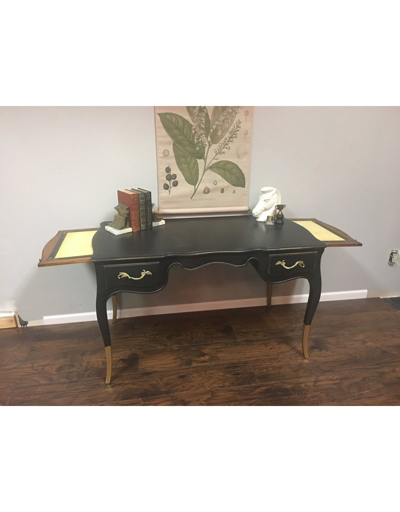 Lamp Black Painted French Provincial Writing Desk w Gold Dipped Legs