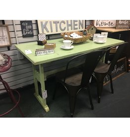 Primitive Style Green Painted Trestle Table