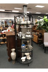 Cast Metal Shelving w/ 4 Glass Shelves