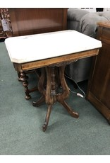 Walnut Victorian Parlor Table w/ White Marble Top
