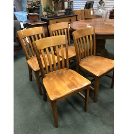 Set of 4 Maple Slat Back, Plank Seat Chairs