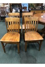 Set of 4 Maple Slat Back, Plank Seat Chairs