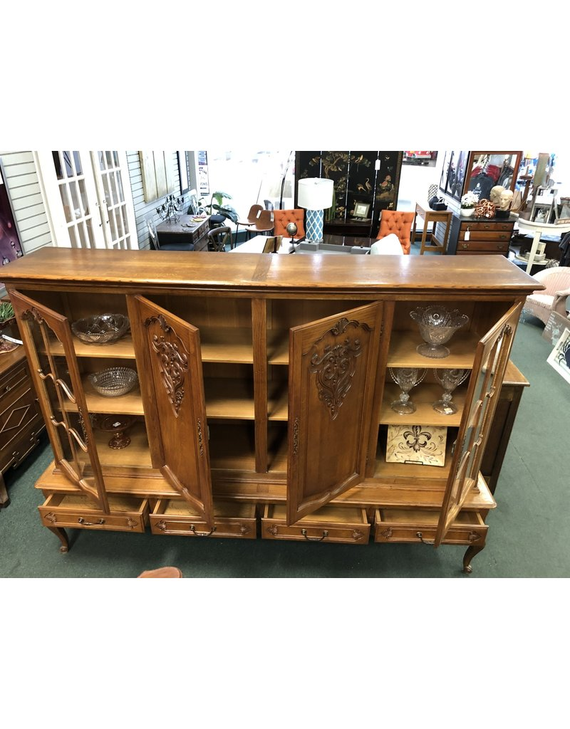 Oak French Provincial Ornate China Hutch on Low Base