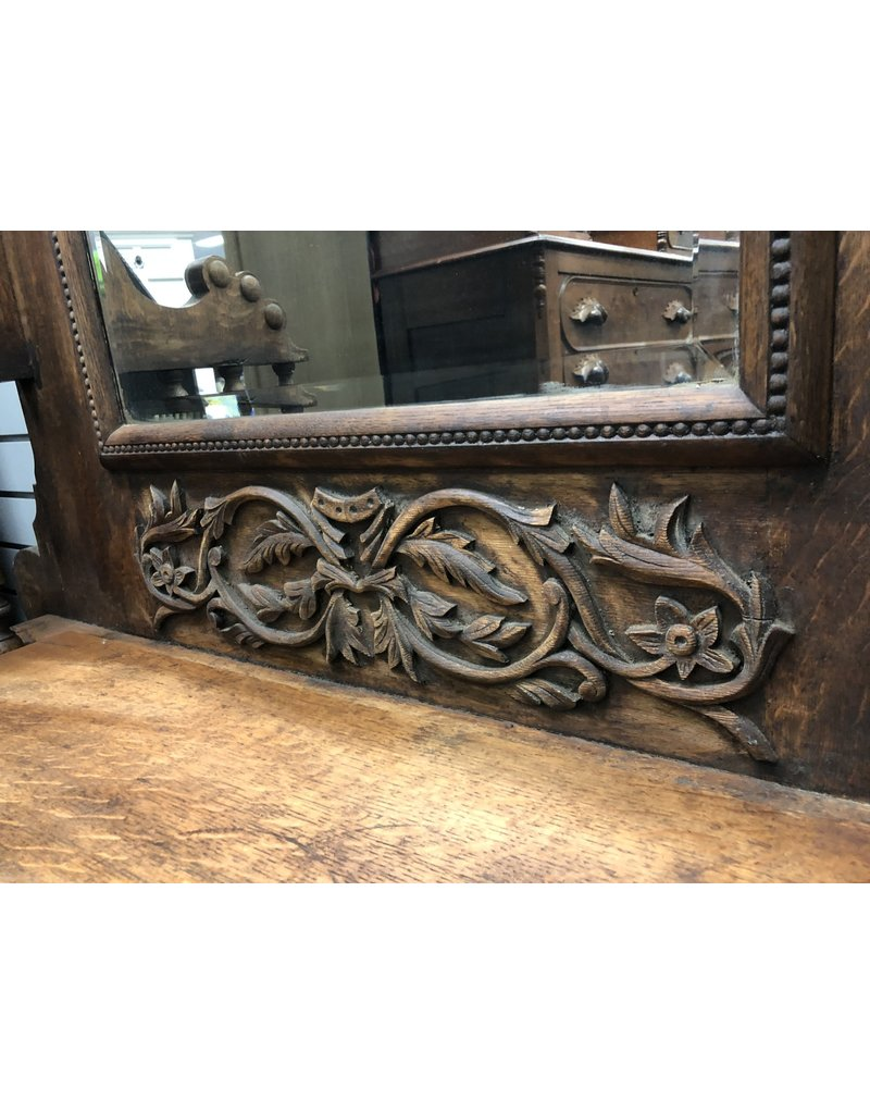Turn of the Century Oak Hall Seat w/ Hooks and Carving