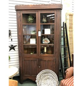 One Piece Corner Cupboard w/ 4 Pane Doors