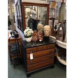 Two Tone Black and Cherry 4 Drawer Bachelors Chest w Mirror