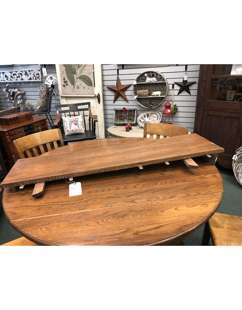 Round Oak Pedestal Table w/ 1 Leaf