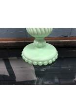 Westmoreland Slag Jadeite colored vase~ Ball and Swirl Pattern
