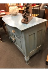 Blue Painted Vintage Washstand  w/ Drawer and Door