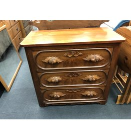 Walnut 3 Drawer Victorian Washstand w/ Carved Pulls