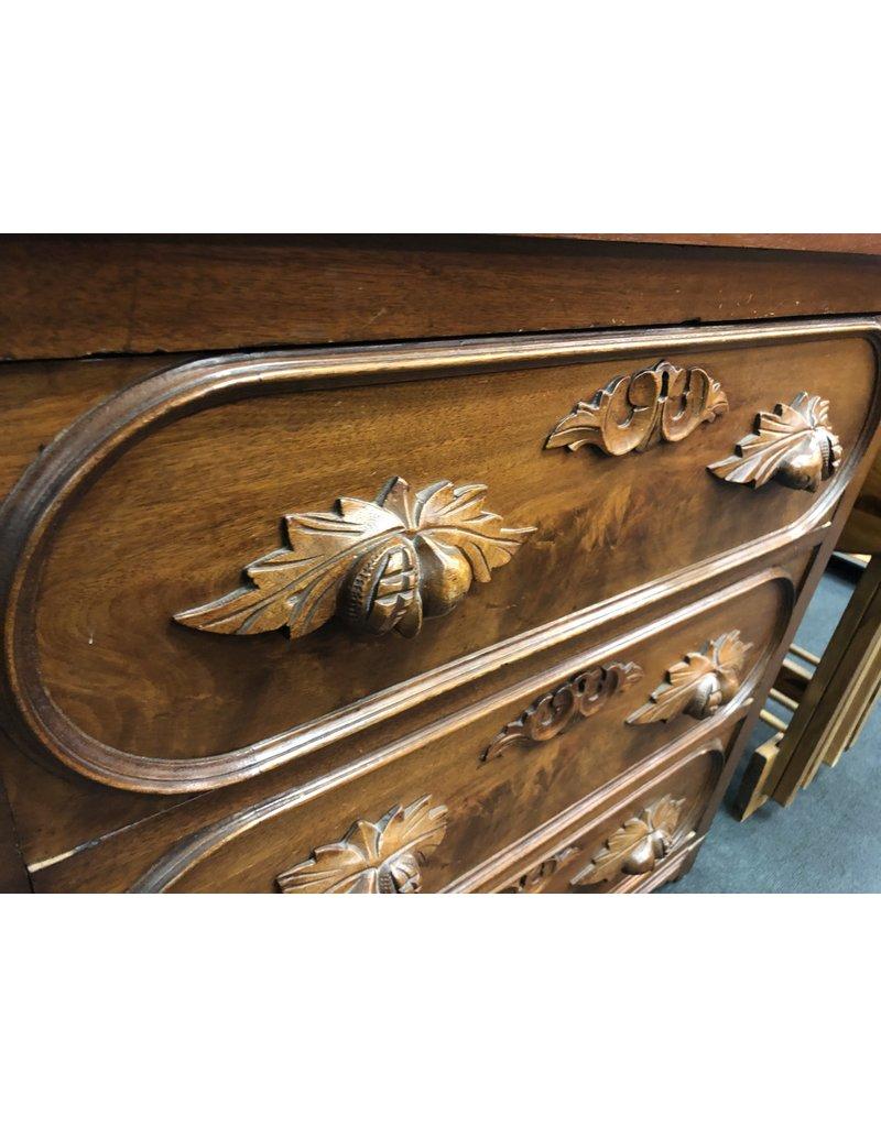Walnut 3 Drawer Victorian Washstand w/ Carved Pulls