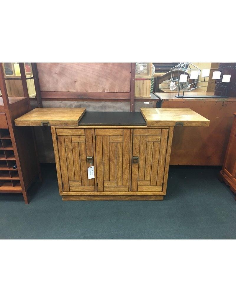 Slide Top Oak Server w/ Slat Style Front 3 Doors