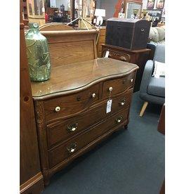 Oak 4 Drawer Dresser w Glass Top