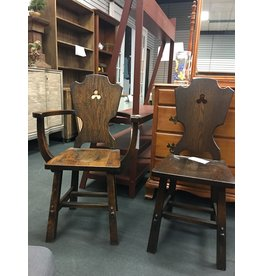 Pair of Oak Chairs w/ Cutouts