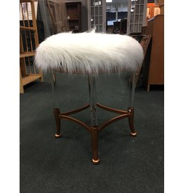 Glam Faux Fur Upholstered Vanity Stool w Acrylic Legs