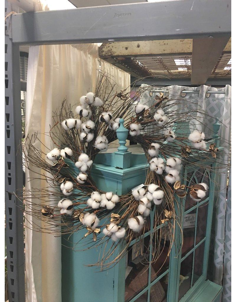 """Cotton Branch Wreath 24"""""""