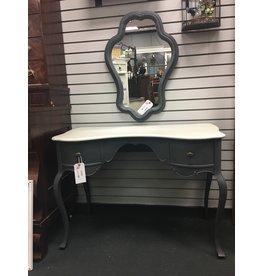 Gray Painted Vanity Desk w 2 Drawers