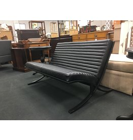 Black Leather Barcelona Style Lounge Chair