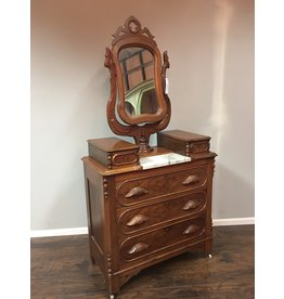 Walnut Victorian 3 Drawer Dresser w/ Marble Insert and Wishbone Mirror