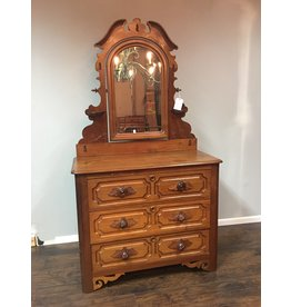 Walnut Victorian 3 Drawer Dresser w/ Mirror and Carved Pulls