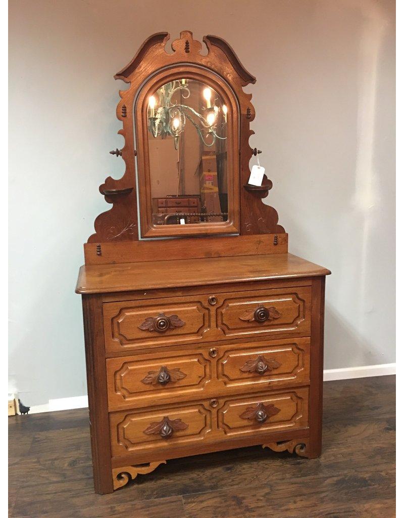 Walnut Victorian 3 Drawer Dresser W Mirror And Carved Pulls