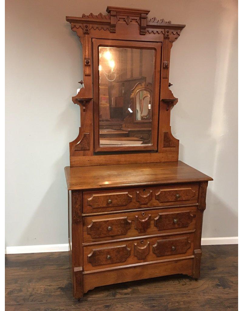 Walnut Victorian 3 Drawer Dresser W Mirror